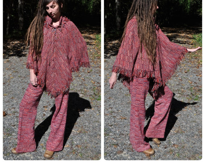 CLEARANCE - RARE Vintage 1960s / 70s Knit Poncho & High Waist Pant SET