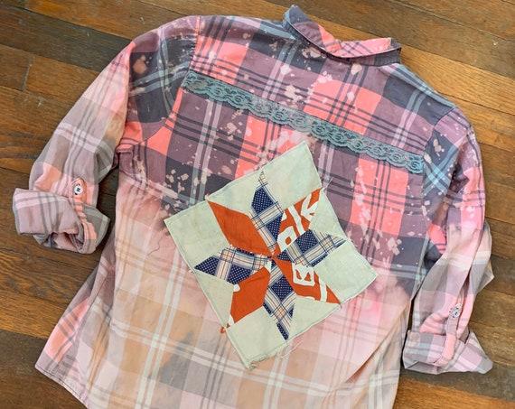 XL Distressed Plaid Shirt