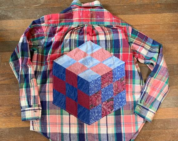 L Tumbling Block Flannel Shirt // Unisex