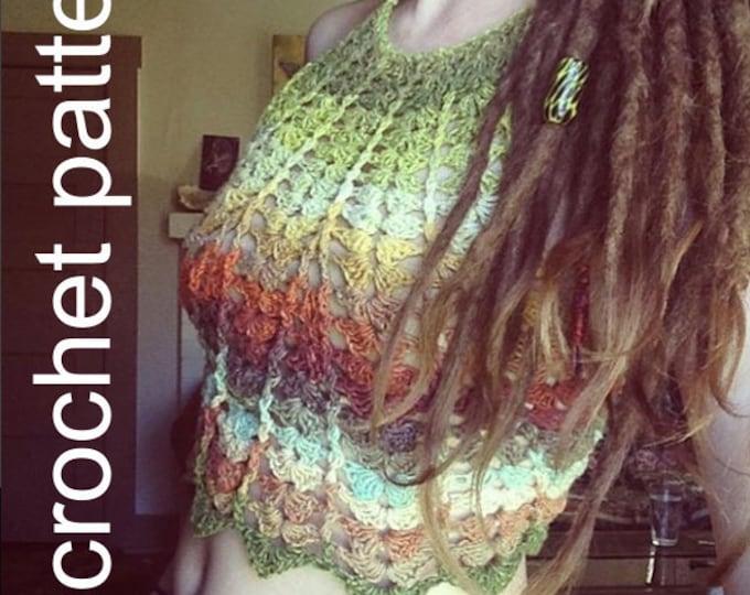 Crochet Pattern - Crop Top Halter Bikini High Neck Shell Lace Festival Bralette // Fern Crop Top PATTERN