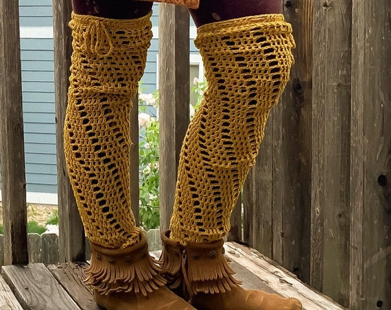 Crochet Pattern - Spiral Leg Warmers Pattern // Crochet Footless Stockings Tutorial // Crochet Spats // Over the Knee Legwarmers