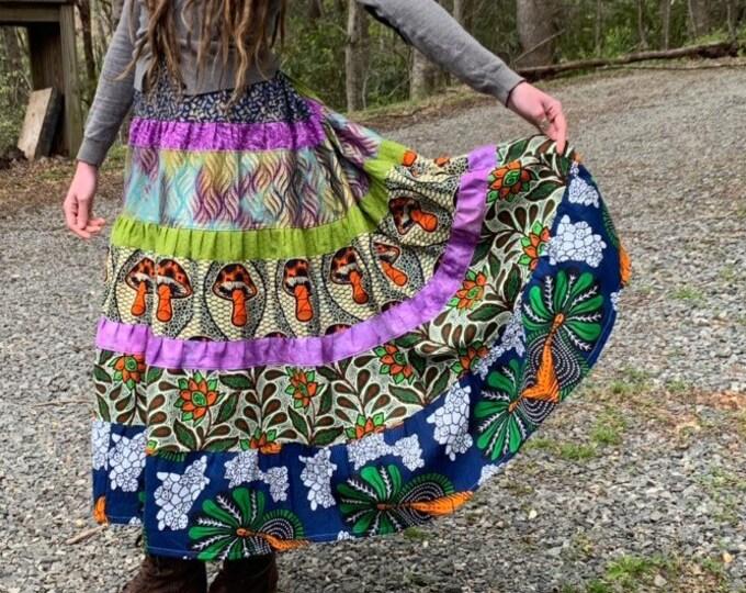 Mountain Dew // Patchwork Rainbow Maxi Skirt