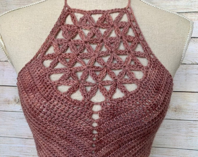 Herbal Dyed Flower of Life Crochet Crop Top / Festival Halter Top