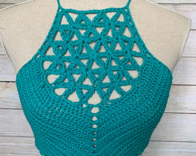 Teal Flower of Life Crochet Crop Top / Vintage Cotton Festival Halter Top