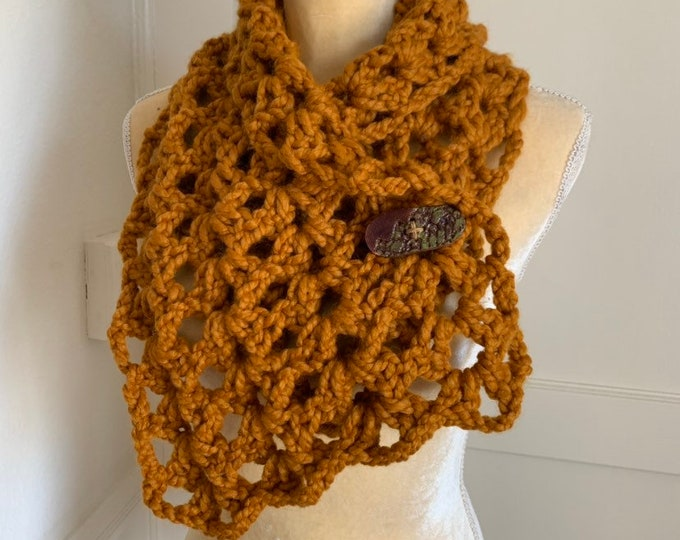 Crochet Wool Blend Scarf // Cowl with clay button