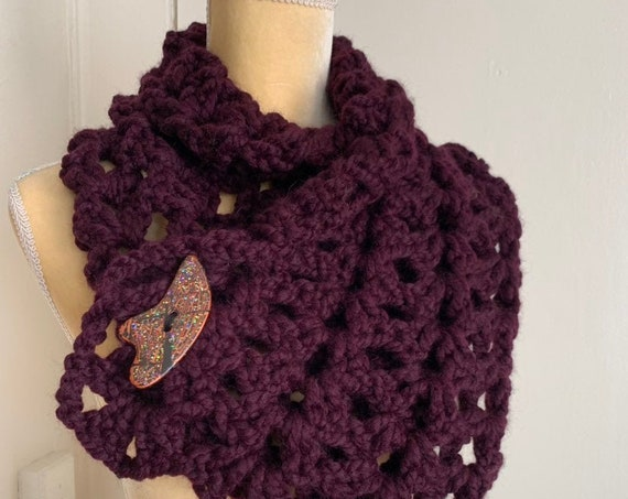 Plum Crochet Wool Blend Cowl With Sparkly Button