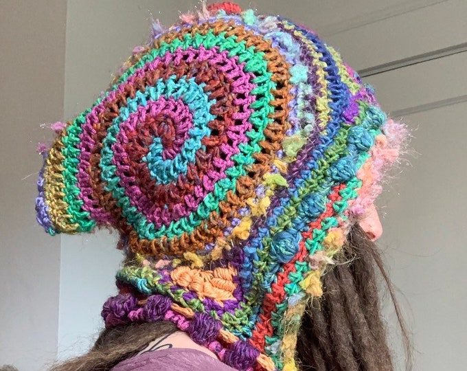 Rainbow Sparkle Party Freeform Crochet Hooded Scarf // one of a kind fiber art spirit hood
