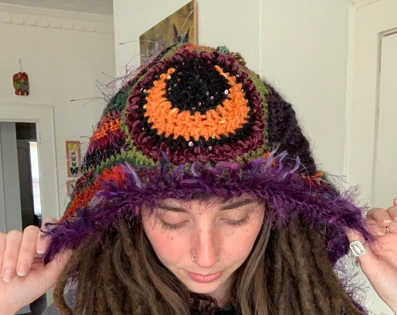 Voodoo Lady Freeform Crochet Hooded Scarf