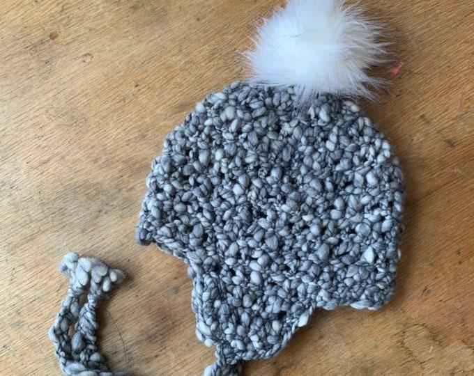 Bulky Wool Blend Earflap Hat