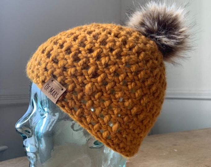 Ochre Yellow Crochet Beanie