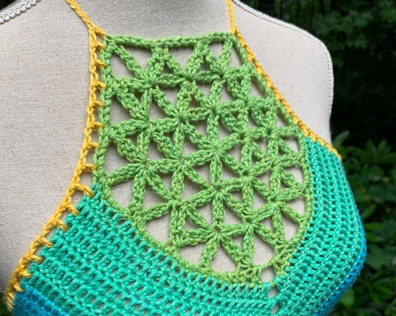Crochet Pattern - Sacred Flower Crop Top Crochet Pattern // Flower of Life Sacred Geometry Cropped Festival Halter Top