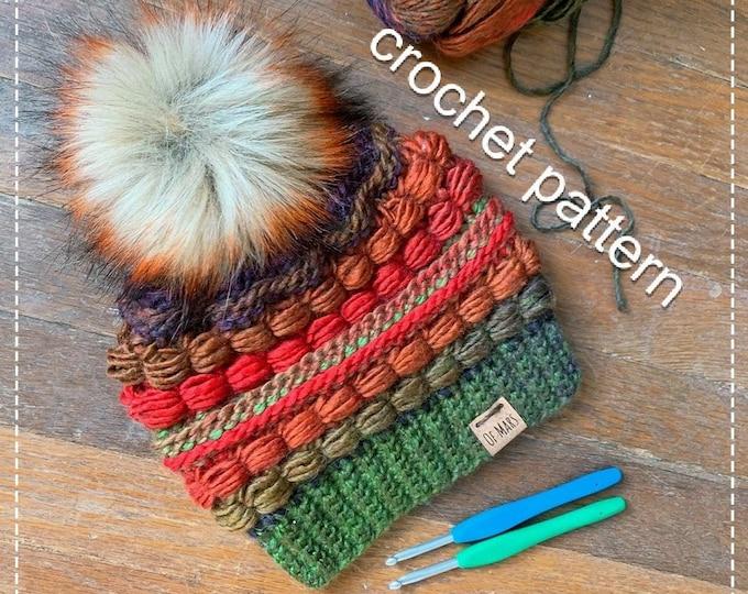 Crochet Pattern - Block Party Hat // Adult Winter Crochet Beanie Hat // Quick Easy Textured Beanie