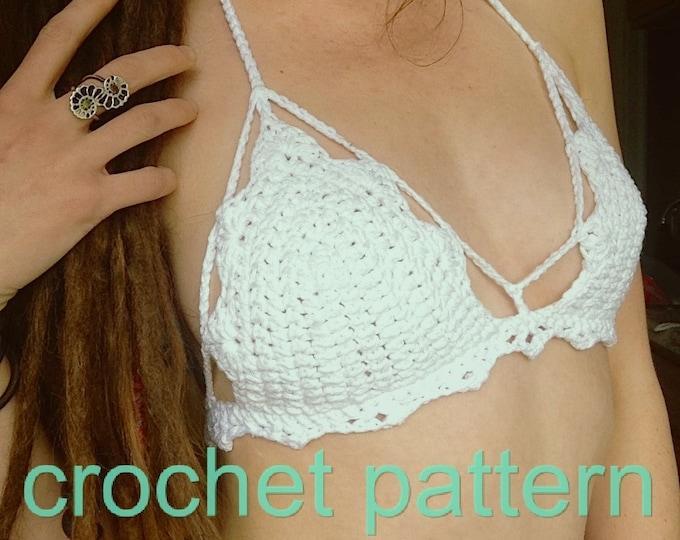 Crochet Pattern - Crop Top Halter Bikini High Neck Mandala Festival Bralette // Bohemian Bralette PATTERN