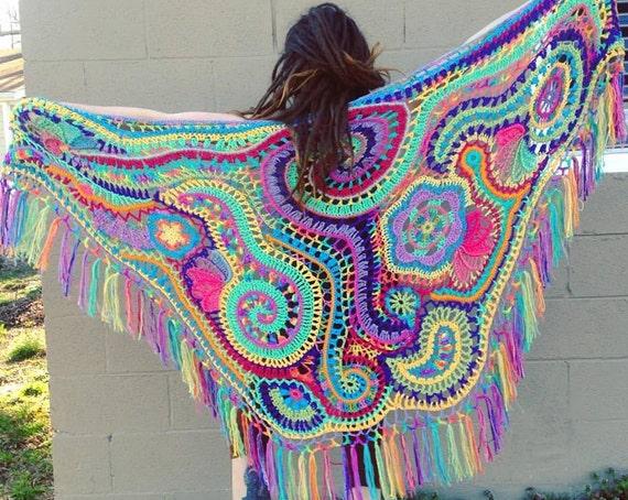 Custom Made For You Freeform Crochet Shawl // Ooak Wearable Fiber Art
