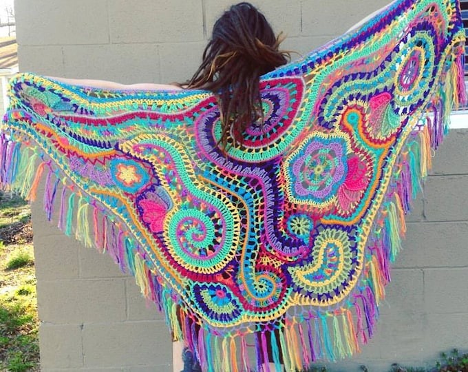 Custom Made For You Freeform Crochet Shawl // Ooak Wearable Fiber Art