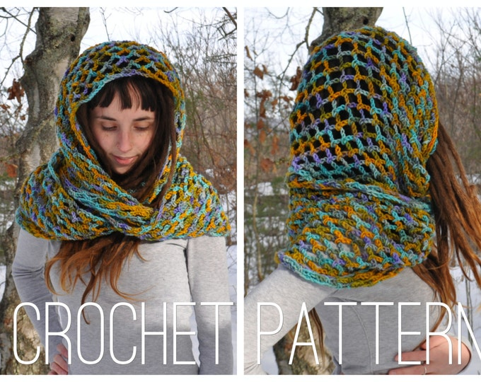 Crochet Pattern - Easy Beginner Cowl Wide Scarf Lace Shawl Hood // Snow Day Infinity Scarf PATTERN