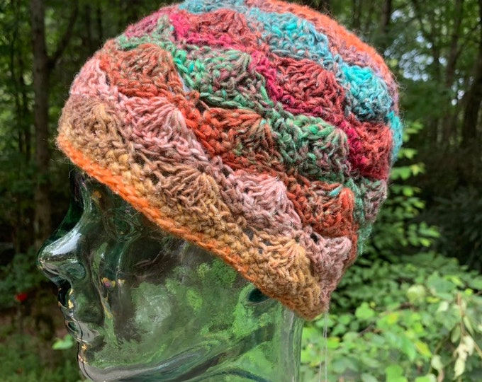 Cobblestone Crochet Lace Cap #4 // Silk Wool Blend Shell Stitch Hat