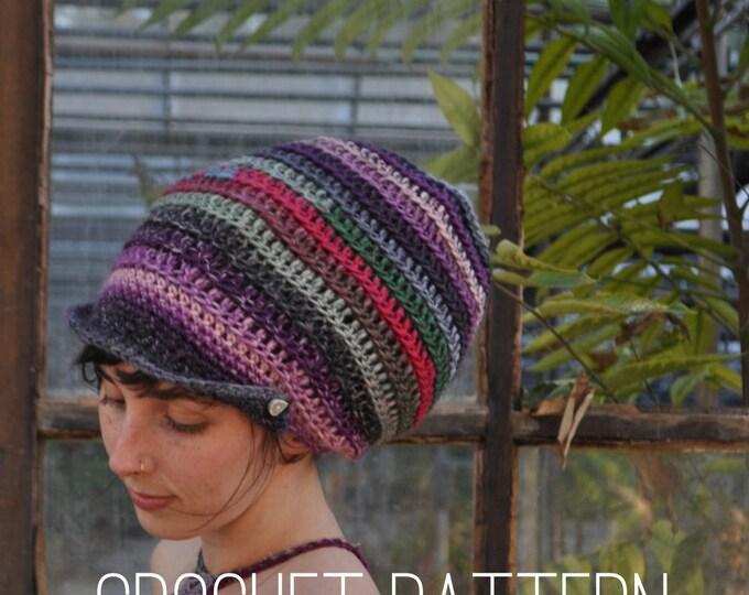 Crochet Pattern - Slouchy Spiral Beanie with Brim // Easy Beginner Tam