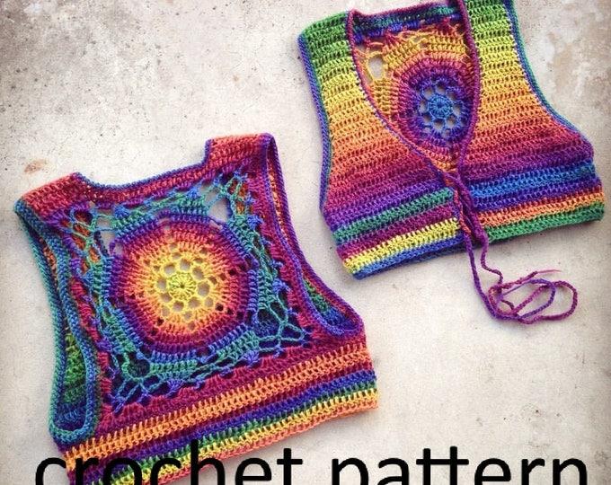 Crochet Pattern - Cropped Sleeveless Sweater Shrug Vest Lace Up Mandala Bohemian // Luna Mandala Vest PATTERN