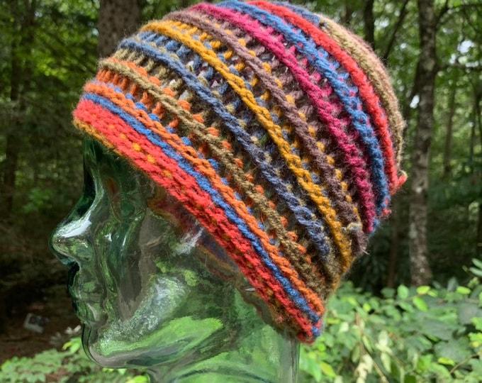 Scrappy Crochet Hat #18 // earthy rainbow beanie