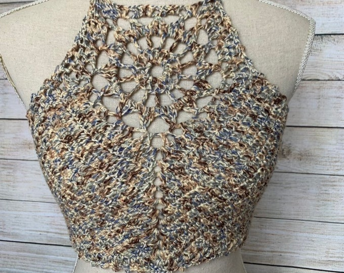 Neutral Sunburst Crochet Crop Top / Festival Halter Top