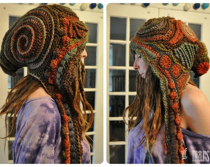 Custom Made For You Woodlands Freeform Crochet Hooded Scarf // Ooak Handmade Spirit Hood