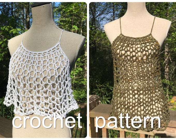 Crochet Pattern - Lace Layering Top Shirt Dress Easy Adjustable Women Lacy Trapeze Top // Cascade Crop Top & Dress PATTERN