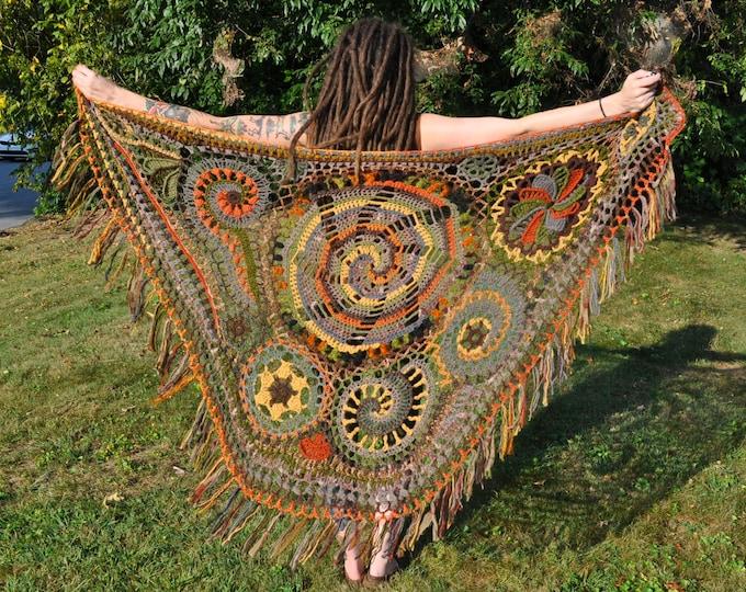 Woodlands Freeform Crochet Shawl // Ooak Fiber Art Wrap