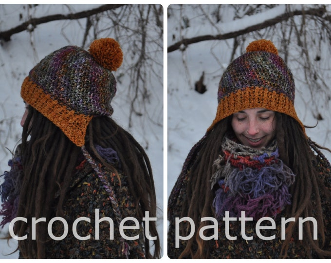 Crochet Pattern - Easy Beginner Slouchy Winter Hat Cap Ribbed Brim // Traveller Pompom Slouchy Hat PATTERN