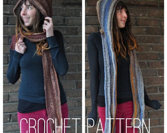 Crochet Pattern - Scarf Scoodie Hood Fall Winter Unisex Accessory // Hooded Scarf PATTERN