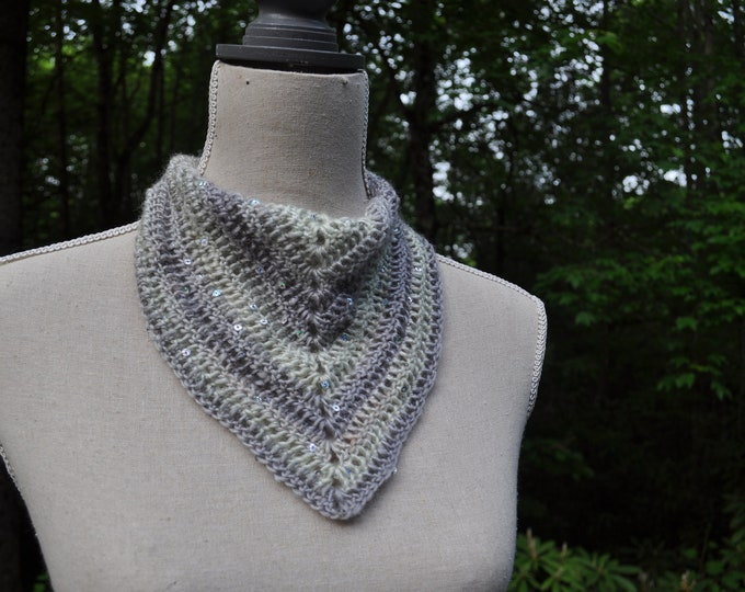 Sparkly Crochet Bandana / Ooak Mint and Grey Triangle Scarf