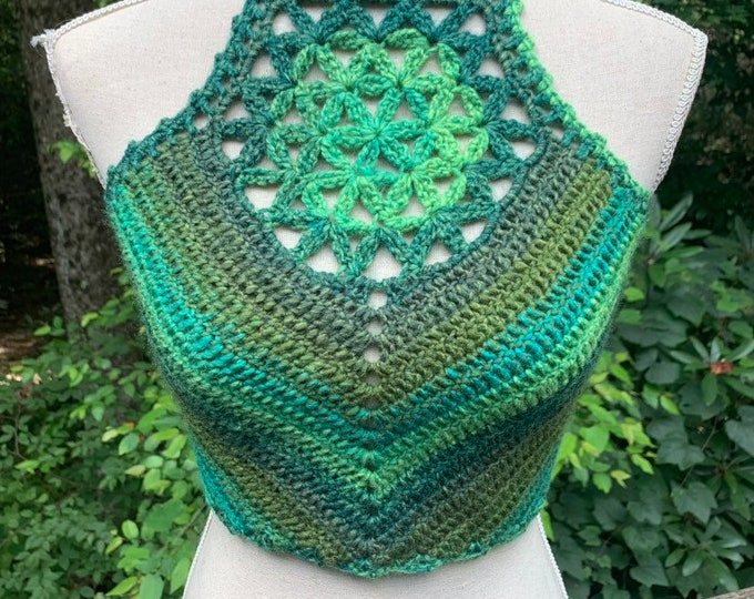 Crochet Crop Top with flower of life // Malachite Sacred Flower Festival Halter Top