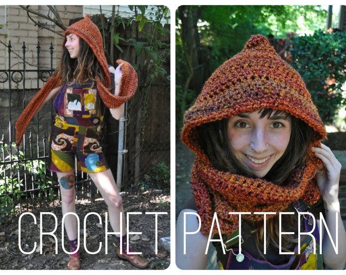 Crochet Pattern - Bulky Quick Easy Scoodie Hood Scarf Unisex Winter Accessory // Pixie Hooded Scarf PATTERN