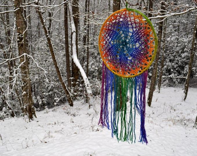 Crochet Pattern - Doily Dreamcatcher Dreamer Fringe Hippie Decor Easy DIY // Flower Dreamcatcher