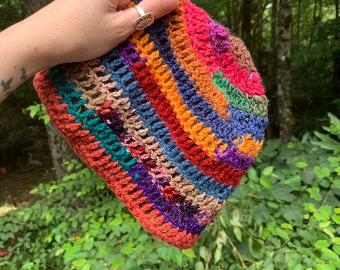Scrappy Crochet Hat #17 // rainbow beanie