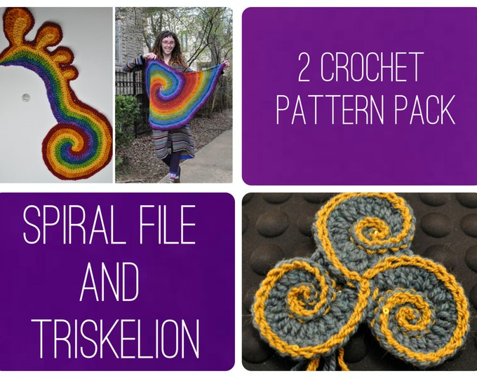 Crochet Pattern Pack - Freeform Crochet Triskelion and the Spiral File