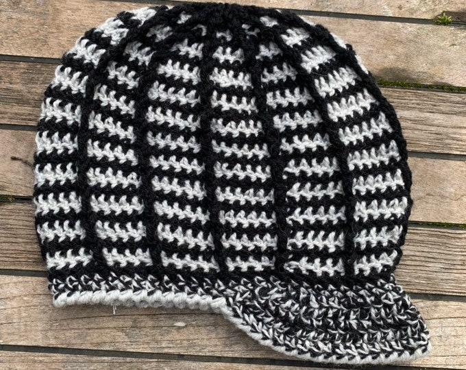 Crochet Ridgeline Slouchy Hat with Brim // One of Kind Wool Dreadlock Hat