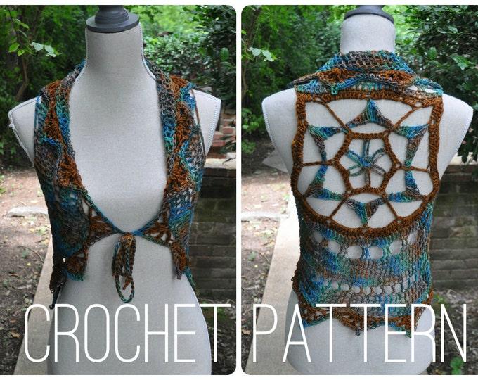 Crochet Pattern - Sleeveless Sweater Shrug Vest for Women Easy // Starflower Mandala Vest PATTERN