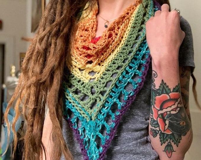 Rainbow Crochet Mountain Scarf // One of a Kind Triangle Scarf // WOOL FREE