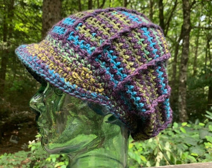 Anemone Ridgeline Crochet Slouchy Hat with Brim // One of a Kind Peaked Hat