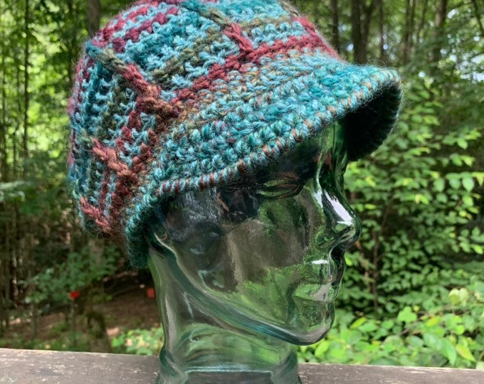 Teal & Purple Ridgeline Crochet Slouchy Hat with Brim // One of a Kind Peaked Hat