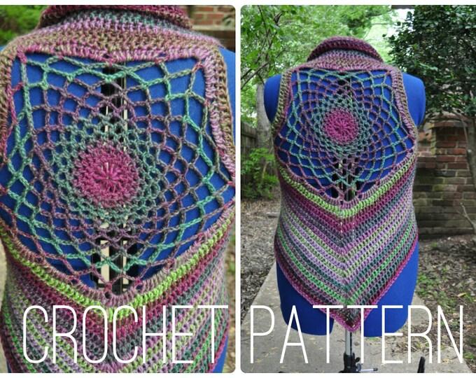 Crochet Pattern - Cardigan Shrug Sweater Sleeveless Pixie Vest for Women // Dreamcatcher Mandala Vest PATTERN