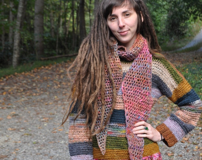 Crochet Ombre Angles Scarf // One of a Kind // Wool Cotton Silk Blend