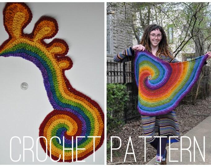 Crochet Pattern - Freeform Spirals // Freeform Crochet Tutorial Spirals Motif DIY Applique