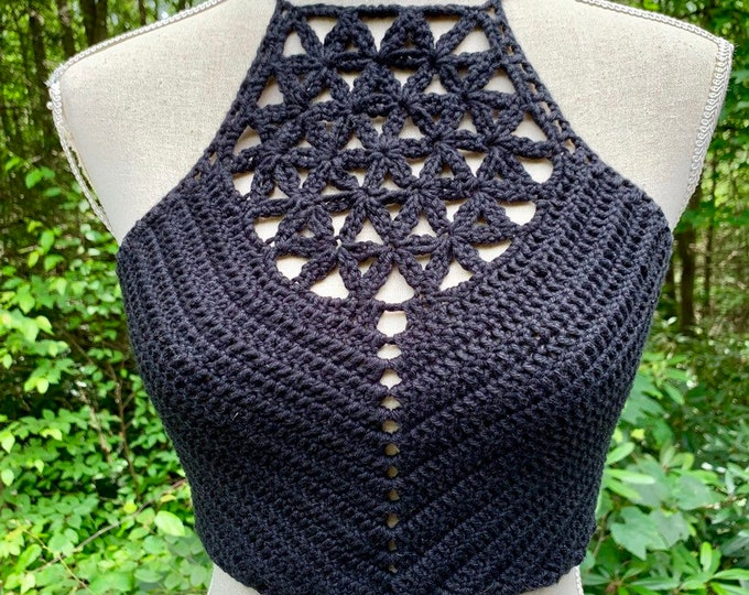 Flower of Life Crochet Festival Crop Top // Black Cotton Halter Top with Sacred Geometry