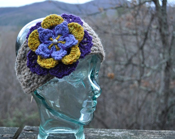 Mottled Gray Wool Flower Headband with Buttons