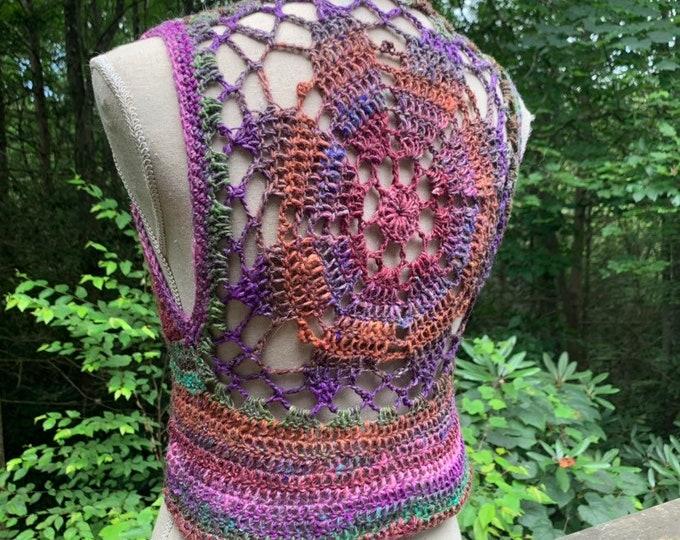 Luna Mandala Vest - Rainbow Crochet Bolero