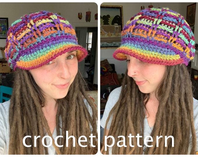Crochet Pattern - Equilibrium Crochet Beanie // Textured Slouchy Hat with Brim // Quick Easy Crochet Pattern