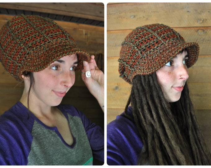 Earthy Ridgeline Crochet Slouchy Hat with Brim // One of a Kind Peaked Hat