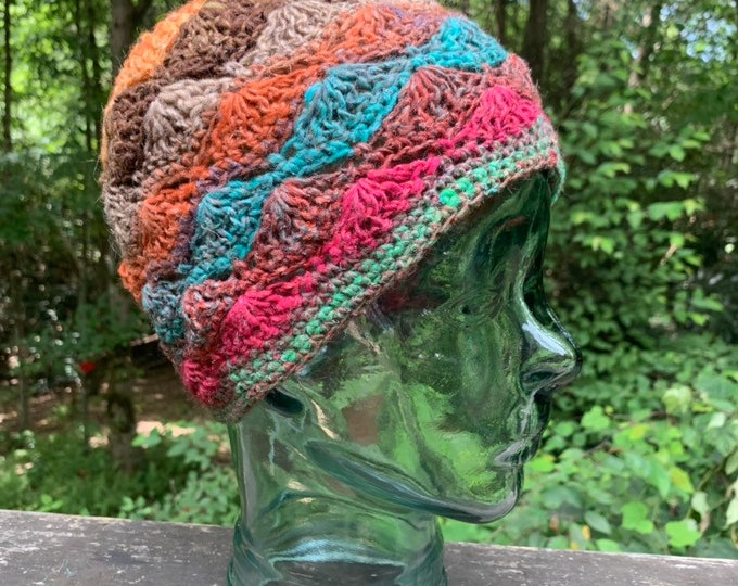 Cobblestone Crochet Lace Cap #3 // Silk Wool Blend Shell Stitch Hat